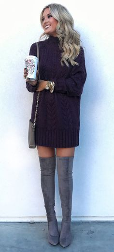 #fall #outfits women's black long-sleeve mini dress and pair of gray thigh-high boots. Click To Shop This Look.