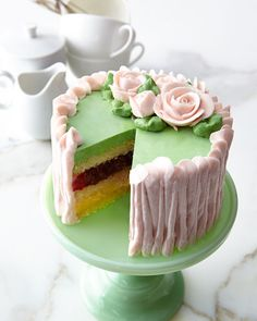 Raspberry Lemon filled cake with buttercream frosting