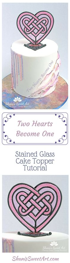 Learn how to create a beautiful, Celtic heart stained glass cake topper. Cake decorating tutorial, Isomalt, via