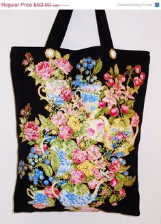 Welcome Spring Sale Canvas Spring Black  Tote With by paulagsell, $49.60