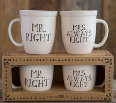Mr Right Mrs Always Right Mug Set | Unique Wedding Bridal Shower Gift, Funny, Humorous, Anniversary Gift for Couple, Wife| Catching Fireflies
