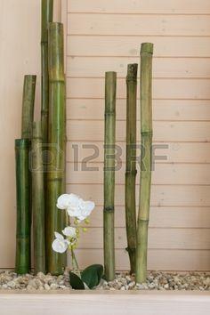 flores de la orquídea con la decoración de bambú Foto de archivo