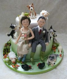 Really Enjoyed Making This Alternative Wedding Cake Not Only Has The Farmer Got A Wife Hes Also Got Five Dogs Couple Of Geese A Few Chi