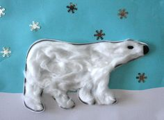 Polar Bear art project for polar animals week Animal Art Projects, Toddler Art Projects, Preschool Projects, Animal Crafts, Preschool Crafts, Letter P Crafts, Photo Ours, Art D'ours, Winter Thema