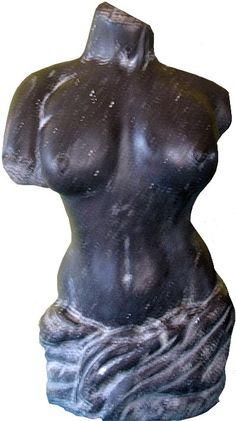 Female Torso - Blue Limestone Female Torso, Buddha, Batman, Sculpture, Statue, Superhero, Blue, Fictional Characters, Art