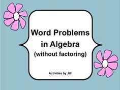 What is possibly the most difficult topic for algebra students? If you are like me, you can always use extra word problems for students to practice. Math Math, Math Class, Teaching Math, Math Games For Kids, Fun Math Activities, High School Subjects, Secondary Teacher, School Grades, Algebra 1