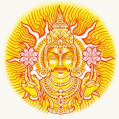 Sun God - Surya - Tattoo Design & Meaning Planet Sun, God Tattoos, Buddha Tattoos, Indian Festivals, Constellations, Astrology, Meant To Be, Zodiac, Tattoo Designs