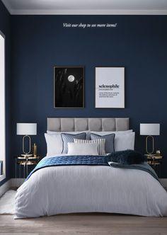 Dark Blue Bedrooms, Blue Master Bedroom, Blue Bedroom Decor, Bedroom Wall Colors, Bedroom Color Schemes, Room Ideas Bedroom, Home Bedroom, Navy Bedrooms, Blue Feature Wall Bedroom