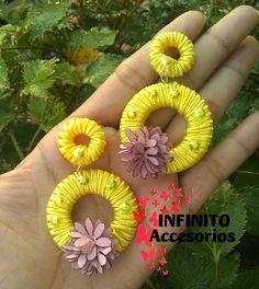 aretes en soutache amarillo decorados con piedra de cristal Crochet Earrings, Yellow, Earrings, Crystals, Stud Earrings