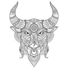 Dibujo de Toro enojado para colorear libro, tatuaje, diseño de la camiseta y la otra decoración — Vector de stock