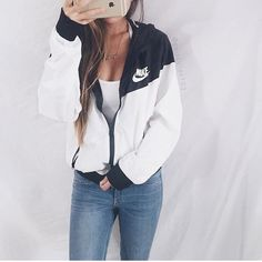 NWT NIKE WINDBREAKER CHOOSE SIZE SMALL OR MEDIUM AT CHECKOUT!! ❤️Super cute and brand new with tags! Size WOMENS S/M! Runs slightly small. Bought from Nike Asia. CHOOSE YOUR SIZE AT CHECKOUT, I HAVE SMALL AND MEDIUM AVAILABLE. MODEL IS 120 LBS 5'4 WEARING A MEDIUM. If this item is out of stock it will be restocked within a few months (since I travel) so keep checking back! This one is black on white. Two layers of mesh panels make this jacket perfect for layering! Price is firm on this item…