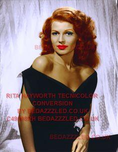 RITA HAYWORTH TECHNICOLOR CONVERSION BY BEDAZZZLED FROM B/W PRINT