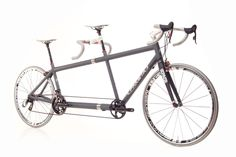 Steel colored tandem bike. Perfect for togetherness riding!