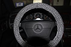 Steering Wheel Cover  Towers Black and White by SouthernAplus
