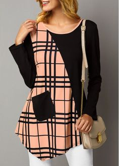 Womens Casual Tops Asymmetric Hem Pocket Front Plaid Print T Shirt Stylish Dresses, Fashion Dresses, Shirt Patterns For Women, Trendy Tops For Women, Diy Clothing, Blouse Designs, Casual Outfits, Lisa Robertson, Robertson Tartan