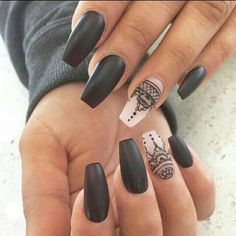Matte black nails with nice boho print - LadyStyle