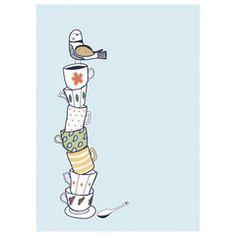 Little Otsu — Teacups Card by Kate Sutton