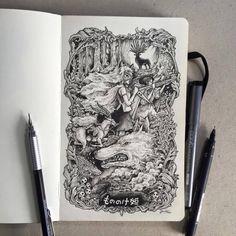 Roadtrip (Ghibli Style) by kerbyrosanes on DeviantArt Art Drawings For Kids, Ink Pen Drawings, Art Drawings Sketches, Totoro, Ink Illustrations, Illustration Art, Moleskine Sketchbook, Art Inspiration Drawing, Princess Mononoke