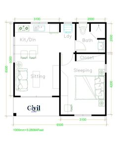 Beautiful Tiny House Plan Ideas For Your Inspiration - Engineering Discoveries Small House Layout, Small House Design, House Layouts, Modern House Design, One Bedroom House Plans, Small House Floor Plans, Small Cottage Homes, Small Cottages, House Construction Plan