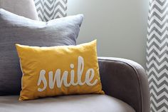 Want this yellow pillow for my new gray/yellow room! Etsy: Honey Pie Design