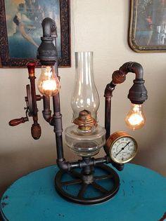 Steampunk Lamp with a cool twist: kerosene lantern. Fun stuff! SOLD