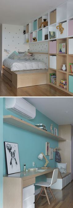 In this modern children's bedroom, a wood bed frame has been custom designed and it morphs into a wood and white bookshelf with colorful storage boxes. On the opposite wall, a teal blue wall becomes the background for a built-in bench and desk. #KidsBedroom #ChildrensBedroom #ModernKidsRoom #ModernBedroom