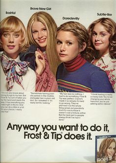 """1974 I remember these ads when I was a little girl I thought """"how glamorous """" they were :) Retro Advertising, Vintage Advertisements, Vintage Ads, Hj History, 70s Hair, Retro Hair, Beauty Ad, Beauty Shop, Beauty Products"""