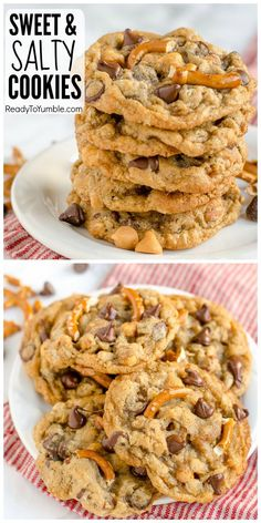 Sweet and Salty Cookies combine some of my favorite treats – pretzels, chocolate chips, and butterscotch – in one soft and chewy cookie with a ton of flavor! Mini Desserts, Cookie Desserts, Dessert Recipes, Drop Cookie Recipes, Bar Recipes, Family Recipes, Plated Desserts, Dessert Ideas, Easy Desserts