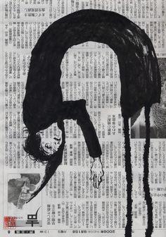 skyozlem:    flickr.com:photos:mican4  hisuiJADE, black long sleeves 2, Pentel Fude(brush) Pen on newspaper, 2008