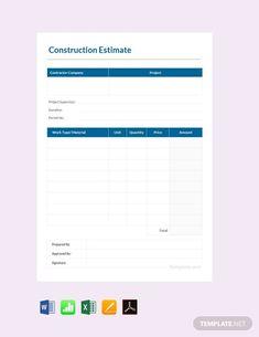 Templates Printable Free, Printable Worksheets, Printables, Business Proposal Template, Proposal Templates, Wedding Photography Shot List, Construction Bids, Estimate Template, Checklist Template