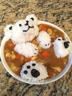 Made a curry bear for dinner Cute Food, Good Food, Yummy Food, Food Crafts, Diy Food, Food Design, Super Bowl Essen, Kawaii Cooking, Food Porn