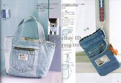 Recycled Denim Jeans Purse Patterns   Recycle Jean Bags Japanese Denim Bag Tote Craft Pattern Book   eBay