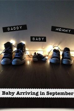 Baby announcement... I just put white Christmas lights behind my shoes, my boyfriends shoes and the baby's.. I was able to write on the picture with a free app called Labelbox.. Took me 5 minutes.. Would be cute with cowboy boots, flip flops, etc