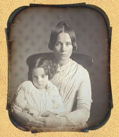Sixth plate daguerreotype of mother and daughter, anonymous American ca. 1845.