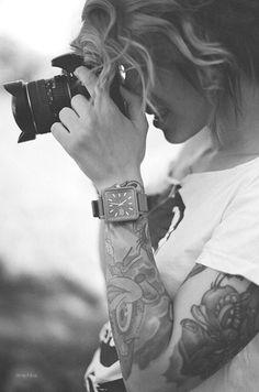 Sleeve + Tattoo + White Tee + Watch = love it