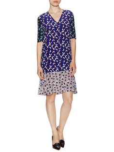 Silk Contrast Printed V-Neck Dress from Go Bold: Maximalism on Gilt