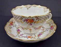 Antique Lamm Dresden Oversized Coffee Cup & Saucer