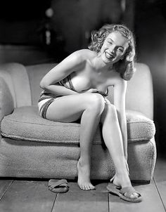 Before she became famous as Marilyn Monroe, 19-year-old Norma Jeane shows that she already has ''the right stuff'' in this vintage pinup by Earl Moran.