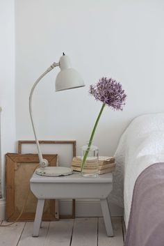 There's something about the shape of this bedside table and the lamp together that I really like.