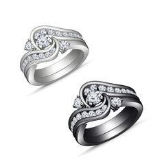 Simulated Diamond White & Black Gold Over Sterling Bridal Ring Set For Women's #adorablejewelry