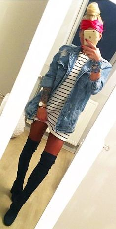 #winter #outfits  blue denim button-up jacket with white and black striped shirt with black thigh-high chunky heeled boots