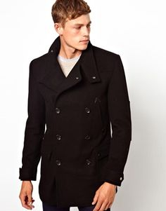 ASOS Wool Jacket With Funnel Neck In Black. Peacoat's are a great staple, however, they may not be the best for your body type. The double breast buttons may over whelm your frame, but if you can get one tailored they literally look good on everyone and never go out of style.