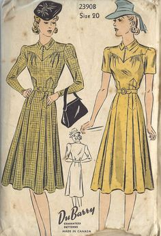 40s yellow day dress plaid solid belt short long sleeves tab collar pleated skirt color illustration print ad DuBarry <3