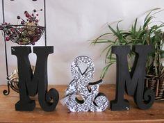 Damask wedding centerpiece, black and white, wood wedding letters