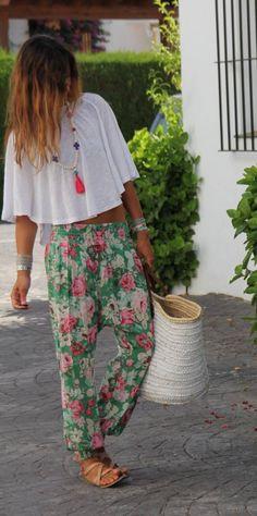 floral harem pants &  'skirted' crop tee