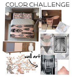 """""""Just peachy🍑{gray & peach color challenge}"""" by sarajbrown on Polyvore featuring interior, interiors, interior design, home, home decor, interior decorating, Dot & Bo, Schutz, colorchallenge and grayandpeach"""
