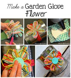 How to make a flower out of a  garden glove!  www.chaoticallycreative.com #handmadegifts  #gardencrafts