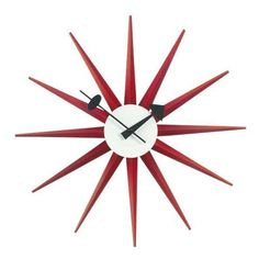 George Nelson Red Sunburst Clock (€260) ❤ liked on Polyvore featuring home, home decor, clocks, red home accessories, george nelson clock, sun burst clock, red clock and sunburst clock