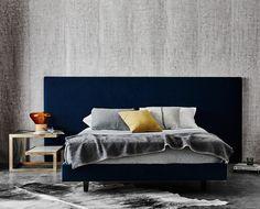 Mirabelle Bedhead in Liaison Ocean Velvet Home Bedroom, Bedroom Decor, Master Bedroom, Velvet Bed, Blue Velvet, Upholstered Bed Frame, Blue Rooms, Bedroom Styles, Beautiful Bedrooms