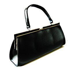 Unique and rare long black Art Deco vintage handbag